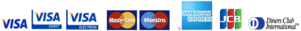We accept Visa, visa Electron, Visa Debit, Mastercard, Maestro, American Express, JCB and Diners Club International
